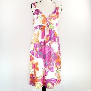 Sangria floral bow tie empire waist dress 10